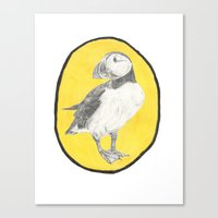 puffin Canvas Prints featuring Puffin by csmalcolm Illustration