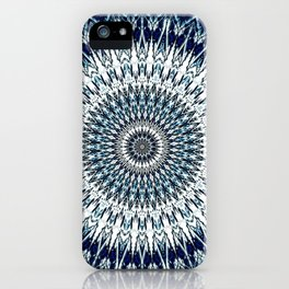Indigo Navy White Mandala Design iPhone Case