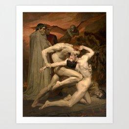 DANTE AND VIRGIL - WILLIAM-ADOLPHE BOUGUEREAU Art Print