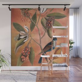 Blue Grosbeak with Sweetbay Magnolia, Vintage Natural History and Botanical Wall Mural