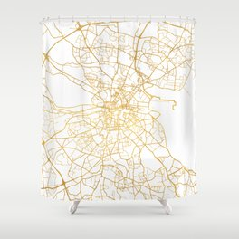DUBLIN IRELAND CITY STREET MAP ART Shower Curtain