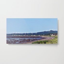 Beach and Wind Turbines Metal Print