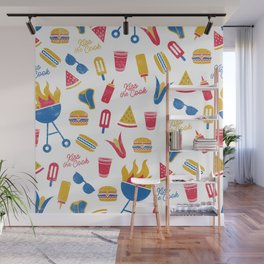 Summer BBQ Pattern - Blue Red Yellow Wall Mural