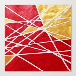 Golden Red Abstract Geometric Art (#1) Canvas Print