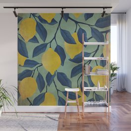 Vintage Lemon Branches on Mint Wall Mural