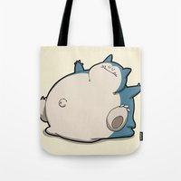 snorlax Tote Bags featuring Pokémon - Number 143 by Aniforce