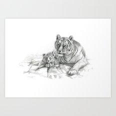 Tiger and cub G2010-001 Art Print