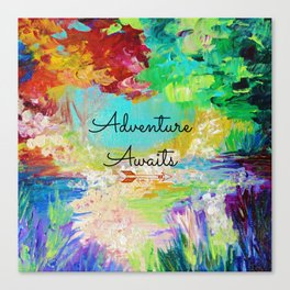 ADVENTURE AWAITS Wanderlust Typography Explore Summer Nature Rainbow Abstract Fine Art Painting Canvas Print