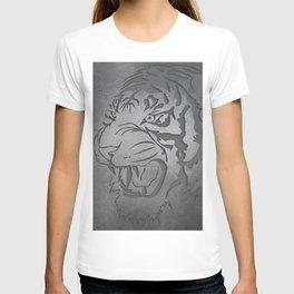 Metal Engraved Tiger Line art T-shirt