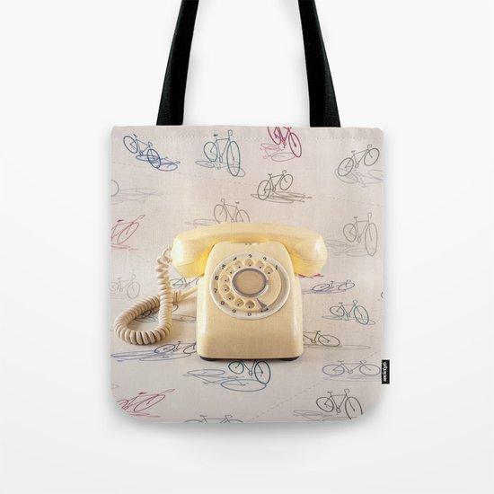 The yellow retro telephone  Tote Bag