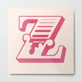 The Letter Z - Retro Style Font Design by Dominic Joyce Metal Print