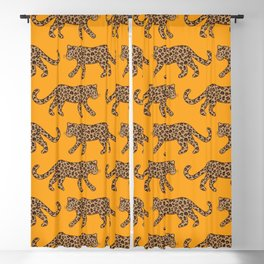 Kitty Parade - Classic Camel on Tangerine Blackout Curtain