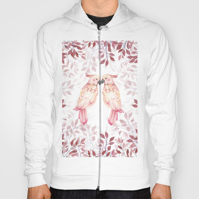 7fec4c51e Watercolor burgundy pink tropical cockatoo bird floral Hoody by ...