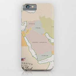 Illustrated map of the Middle East iPhone Case