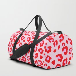 Leopard Print - Red And Pink Duffle Bag
