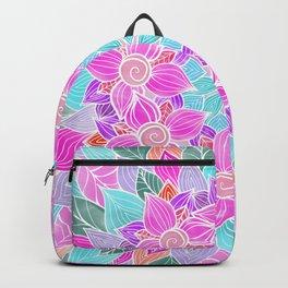Hand painted Pink Lilac Watercolor Floral Mandala Backpack
