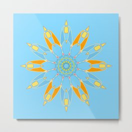 Abstract star on cyan background square Metal Print