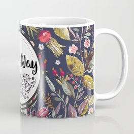 Pretty Floral Pattern with Lovely Day Typography Coffee Mug