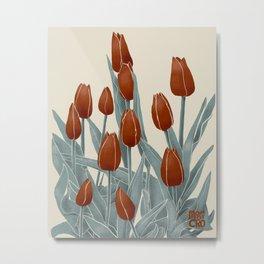 Tulips Modern Botanical, red Metal Print