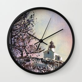 Old Point Loma Lighthouse in Cabrillo National Monument.  Watercolor painting of lighthouse. Wall Clock