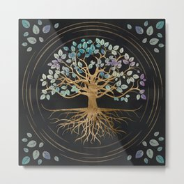 Tree of life - Yggdrasil - Gold and Painted Texture Metal Print