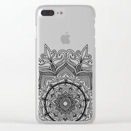 Black Flower Mandala Clear iPhone Case