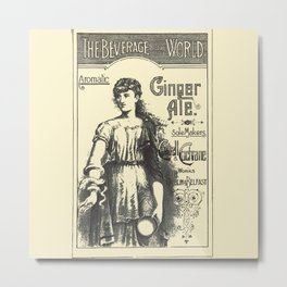 """Vintage Advert for """"The Beverage of the World"""" - Circa 1895 Metal Print"""