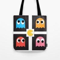 pac man Tote Bags featuring pac man by pixel.pwn | AK