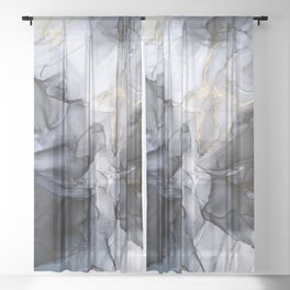 Calm but Dramatic Light Monochromatic Black & Grey Abstract Sheer Curtain