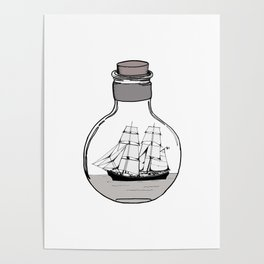 Ship in the Glass Bulb for Home Decor and Apparel Poster
