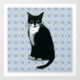 Cute Tuxedo Cat Art Print