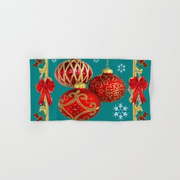 TEAL COLOR RED CHRISTMAS  ORNAMENTS &  POINSETTIAS FLOWER Hand & Bath Towel