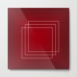 White Retangles With Red Backgound Geometric Art Gift Metal Print