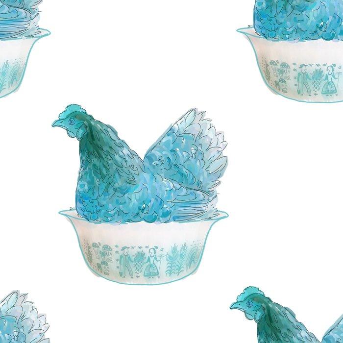Animals in vintage bowls: Chicken Leggings