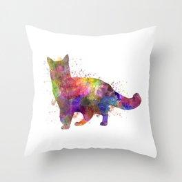 Somali cat in watercolor Throw Pillow
