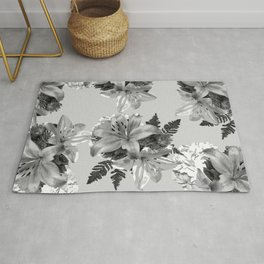 GRAY LILY WHITE ROSE FLORAL PATTERN 2020 Rug