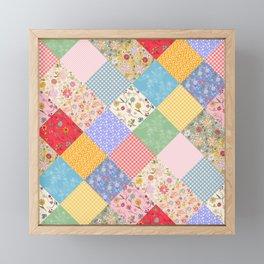Happy Cottage Diamond Patchwork Quilt Framed Mini Art Print