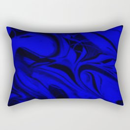 Black and Blue Swirl - Abstract, blue and black mixed paint pattern texture Rectangular Pillow
