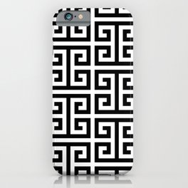 Large Black and White Greek Key Pattern iPhone Case