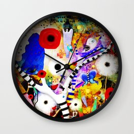 Since you are here - Striped Tree Black and white - Rainbow Abstract Art Wall Clock