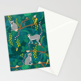 Lemurs in Teal Jungle Stationery Cards