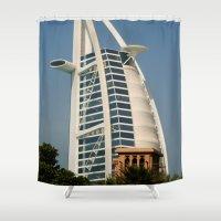 arab Shower Curtains featuring Dubai - Burj Al Arab by gdesai