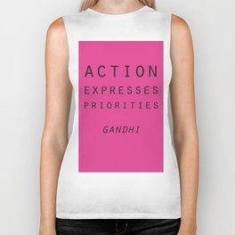 Action Gandhi Quote Biker Tank