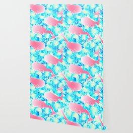 Pink Whales Pattern Wallpaper