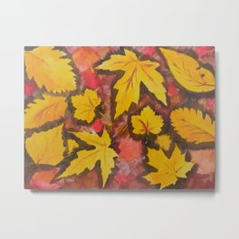 Autumn Leafs Red Yellow Brown Fall pattern based on the acrylic painting Metal Print