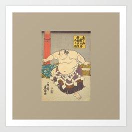 A strong Sumo Wrestler Hidenoyama, Sumo Wrestling Art Print