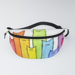 Rainbow of Cats Funny Whimsical Animals Fanny Pack