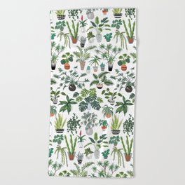 plants and pots pattern Beach Towel