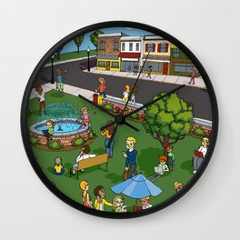 A Digital Day at the Fountain Wall Clock