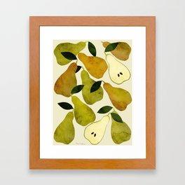 mediterranean pears watercolor Framed Art Print
